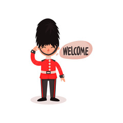 Cartoon character of guardsman in uniform and hat. National British guard. Friendly royal soldier saying Welcome . Flat vector icon