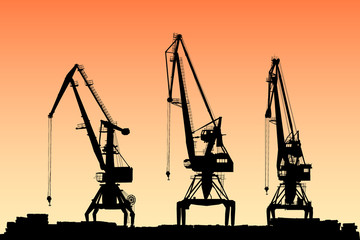 vector portal cranes on sunset background