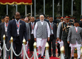 India's PM Narendra Modi arrives at Tribhuvan International Airport to attend the BIMSTEC summit in Kathmandu
