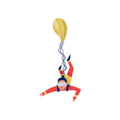 Young woman with parachute in flying action. Extreme leisure. Active sport. Skydiving theme. Flat vector design