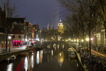 Amsterdam, Netherlands, Gothic Oude Kerk Church. The ancient Church the Oude Kerk is a Gothic Church, the oldest surviving buildings of the Dutch capital