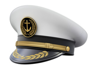 Navy captain hat isolated on white background