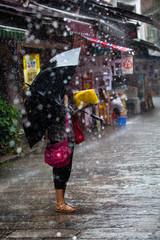 Walking in the rain in Yangshuo China