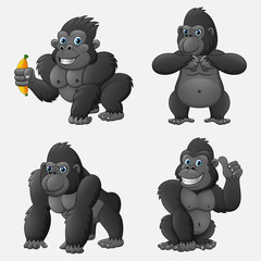 Set of gorilla cartoon with different poses and expressions