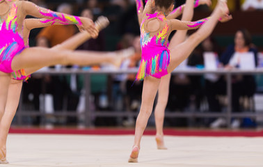 Aluminium Prints Gymnastics Rhythmic gymnastics competition - blurred