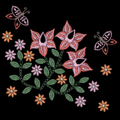 Embroidery stitches imitation folk flower and butterfly
