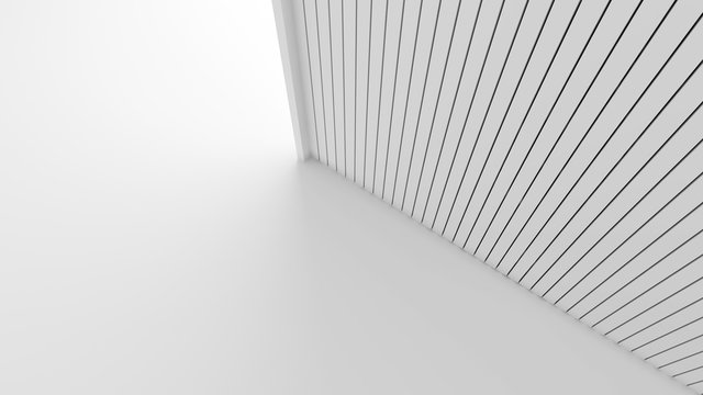 White wood lath wall isolated on white background in architecture concept. Mock up stats striped pattern texture. 3d illustration