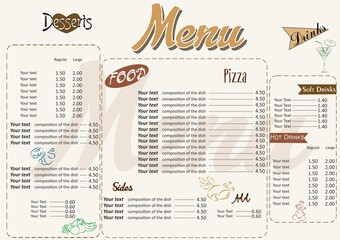 the illustration with nice menu in retro style