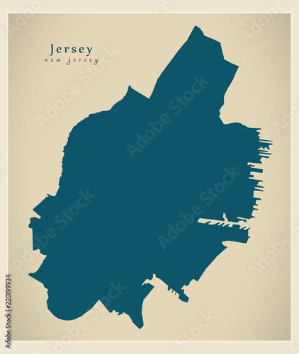 Modern City Map - Jersey New Jersey city of the USA