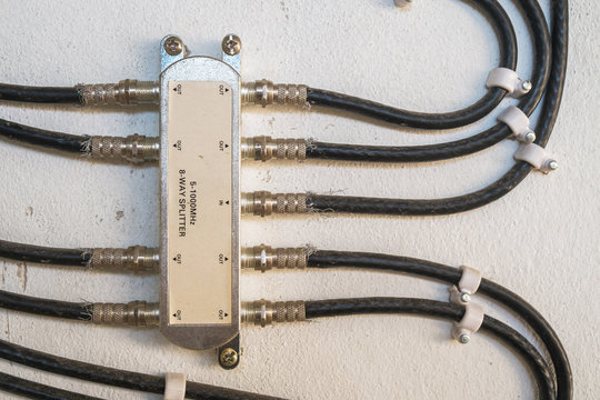 Cable Television System by Wire with Cable Signal Splitter in Apartment