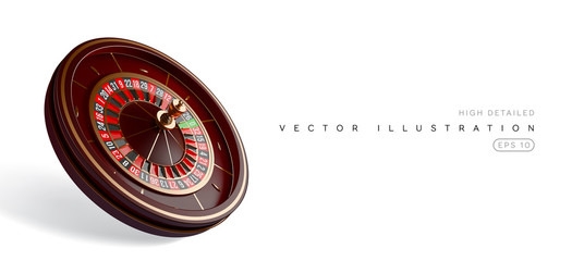 Casino roulette wheel isolated on white background. 3d realistic vector illustration. Online poker casino roulette gambling concept design.