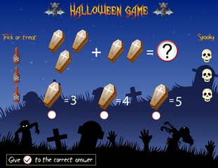 Game count the coffins in the halloween theme