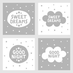 Sweet dreams and Good night hand drawn vector, greeting cards, posters for baby room, kids and baby t-shirts and wear, nursery illustration