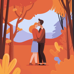 Vector illustration in flat linear style - autumn greeting card