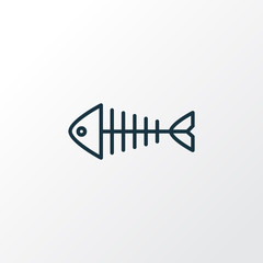 Fish bone icon line symbol. Premium quality isolated fish skeleton element in trendy style.