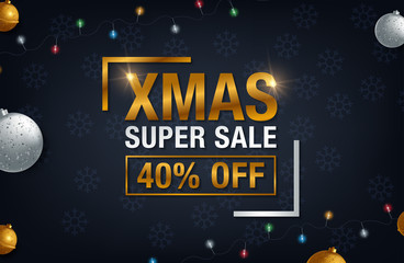 Christmas sale background, promotional poster for Christmas sale