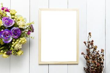 Frame over white wood table background for mockup