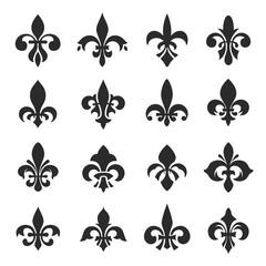Fleur de lis symbol set vector illustration on white background