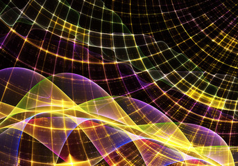 Abstract color dynamic background with lighting effect. Fractal spiral. Fractal art