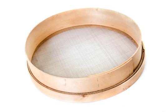 wooden sieve in studio