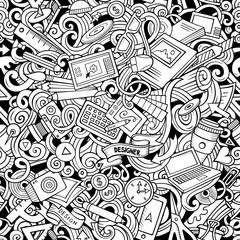 Cartoon cute doodles hand drawn Designer seamless pattern