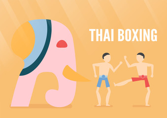 Character design of Thai boxing people with elephant isolated on orange background. Vector illustration in flat design for poster, travelling with light.