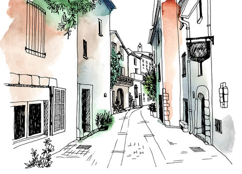 Old town street in hand drawn sketch style. Small European city. France. Urban landscape on watercolor background