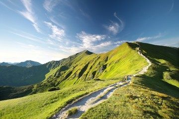 Trial to the peak in Carpathian Mountains