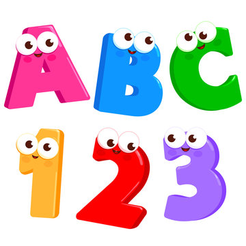 Cartoon Letters ABC and numbers 123 with cute and funny faces.