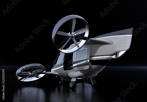 Rear view of Passenger Drone on black background  3D