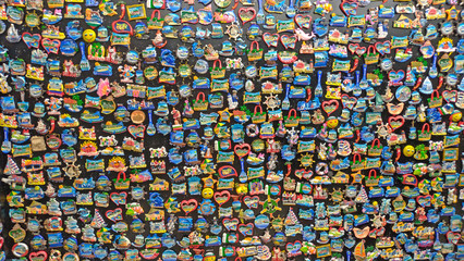 Many souvenir magnets from Bulgaria. A gift for memory, a souvenir