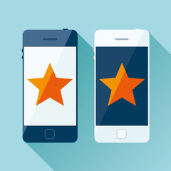 Light and dark Smartphone in flat style, phone icon on color background. Orange star on display. Vector design object for you project