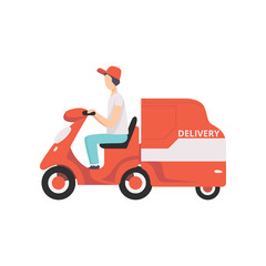 Red delivery tricycle with courier, express delivery concept vector Illustration on a white background