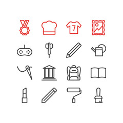 Vector illustration of 16 hobby icons line style. Editable set of picture, dart, graphite and other icon elements.