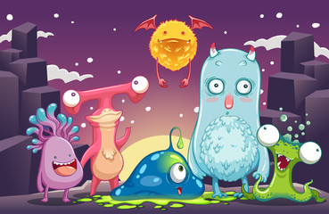 monster aliens group in another planet vector illustration
