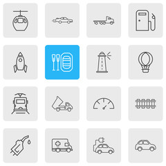 Vector illustration of 16 transportation icons line style. Editable set of dump truck, gasoline pipe, speedometer and other icon elements.