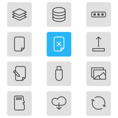 Vector illustration of 12 archive icons line style. Editable set of memory, sd card, delete file and other icon elements.
