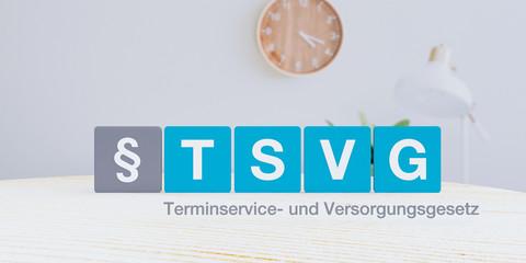 Konzept zum TSVG Gesetz (Terminservice- und Versorgungsgesetz). Buchstaben stehen in blauen Quadraten. Das Paragraphen Zeichen in einem grauen Feld.