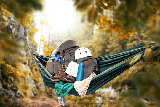 hammock and autumn trip in mountains