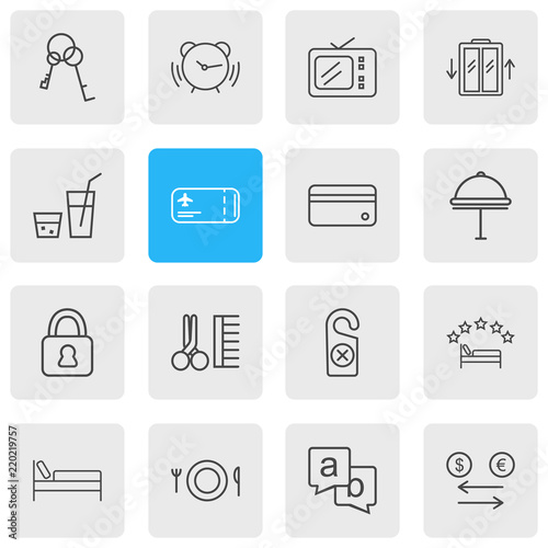 Vector Illustration Of 16 Hotel Icons Line Style Editable Set 5 Star