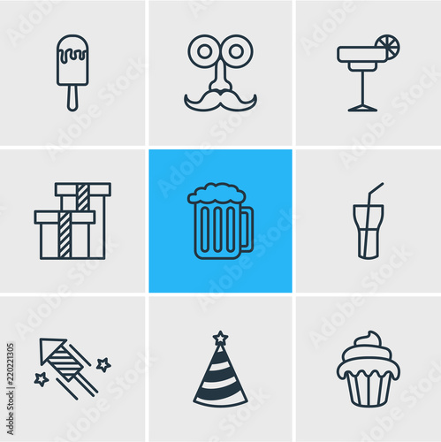 Vector illustration of 9 banquet icons line style. Editable set of party hat 7f89063a2f67