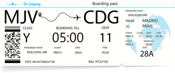 Vector illustration of an airlane boarding pass ticket for traveling by plane. Journey or travel concept. Blue colors