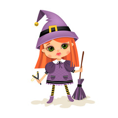 Poster Superheroes Illustration with a girl. Witch in cartoon style