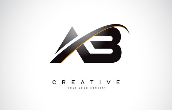 AB A B Swoosh Letter Logo Design with Modern Yellow Swoosh Curved Lines.