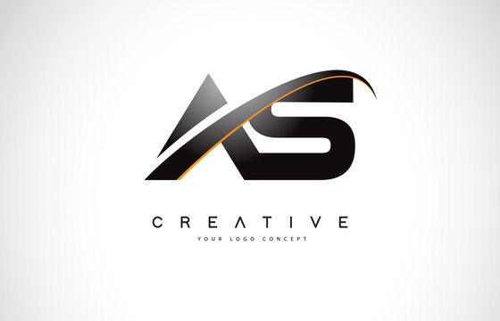 AS A S Swoosh Letter Logo Design with Modern Yellow Swoosh Curved Lines.