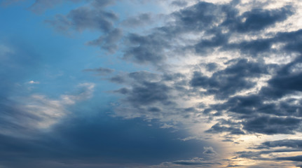 Dramatic sky with clouds. Nature background.