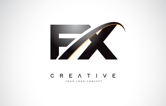 FX F X Swoosh Letter Logo Design with Modern Yellow Swoosh Curved Lines.