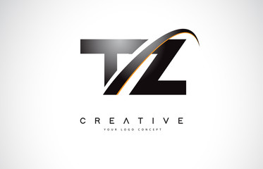 TZ T Z Swoosh Letter Logo Design with Modern Yellow Swoosh Curved Lines.