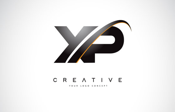 XP X P Swoosh Letter Logo Design with Modern Yellow Swoosh Curved Lines.