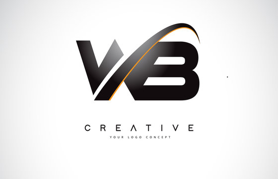 WB W B Swoosh Letter Logo Design with Modern Yellow Swoosh Curved Lines.